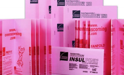 Pink insulation panels